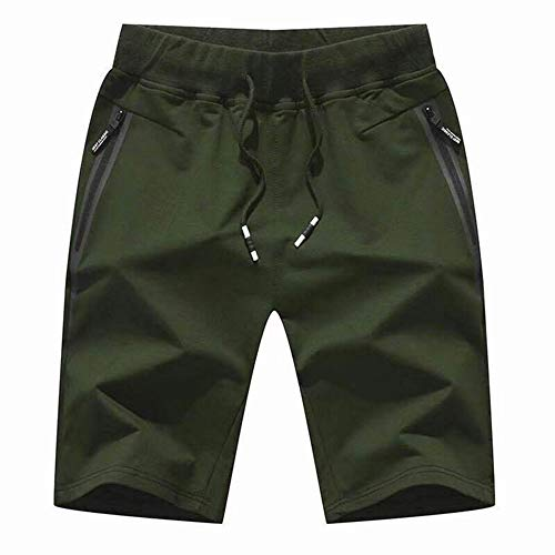 Fire Cotton Shorts - Susclude Men's Cotton Casual Shorts Jogger Capri Pants Breathable Short Pants with Three Pockets Army Green XXL
