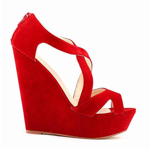 Sandalias de tacon alto - TOOGOO(R)zapatos ocasionales de tacon alto de mujer de boda con plataforma zapatos de botines rojo 39
