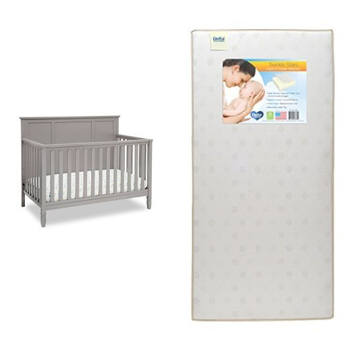 Delta Children Easton 4-in-1 Convertible Crib, Grey with Twinkle Stars Crib & Toddler Mattress