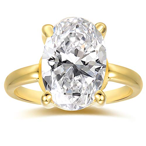 (Lemon Grass 2.75ct Oval Solitaire Engagement Ring Thin Band in Sterling Silver 925 14K Yellow Gold Plating Size 6)