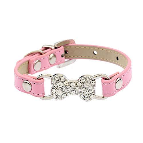 Fashbag 5 Colors Bling Rhinestone Small Dog Collar PU Leather Cat Collar Chihuahua Yorkie Pet Lead S/M Pink M ()
