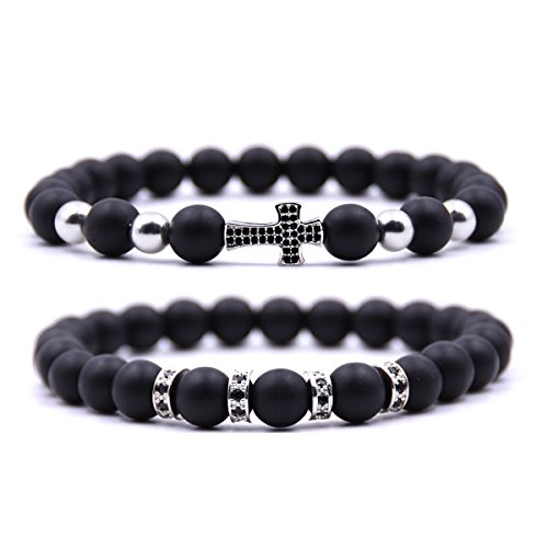 Dolovely 8mm Stone Beads Cross Charm Bracelet CZ Black Matte Onyx Bracelet Set for Men Women