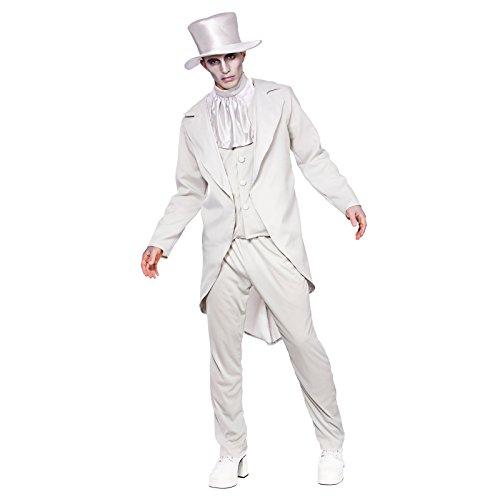 Ghastly Ghost Groom Mens Halloween Fancy Dress Costume Sizes]()