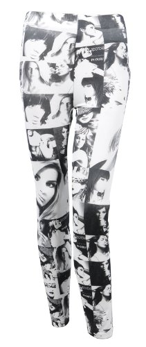 Simplicity Graphic Art Real Life Faces Glossy Leggings, Black White, XS S