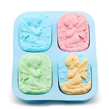 Oyfel Cupcakes Azúcar Chocolate Forma de alas de ángel Niño Niña Jabón moldes de Velas 3D DIY Escultura Molde de Pastel de Silicona Herramientas de ...
