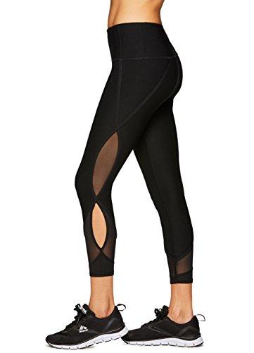 RBX Active Women's Mesh Fashion Workout Yoga Leggings Black L (Metal Ruched)