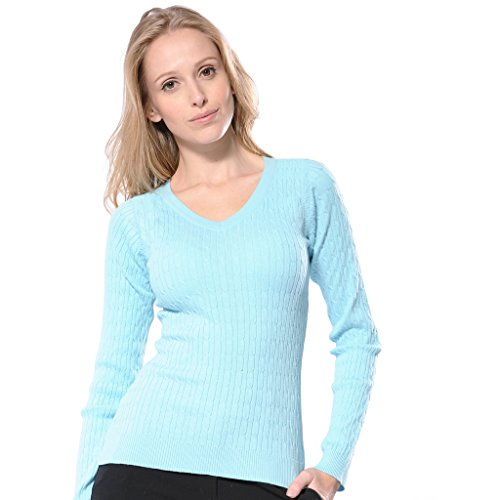 Monterey Club Ladies Classic Solid Cable V-Neck Sweater #6134 (Moderate Blue, Medium)