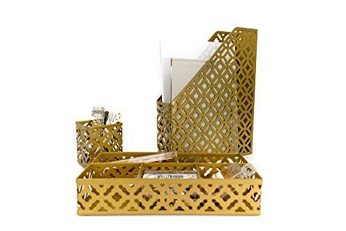 Cheap  Blu Monaco Gold Desk Organizer for Women - 3 Piece Desk Accessories..