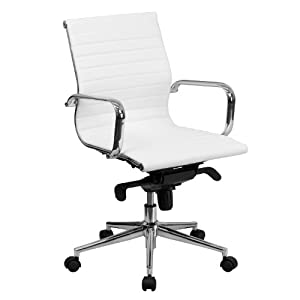 Flash Furniture Mid-Back White Ribbed Leather Swivel Conference Chair with Knee-Tilt Control and Arms
