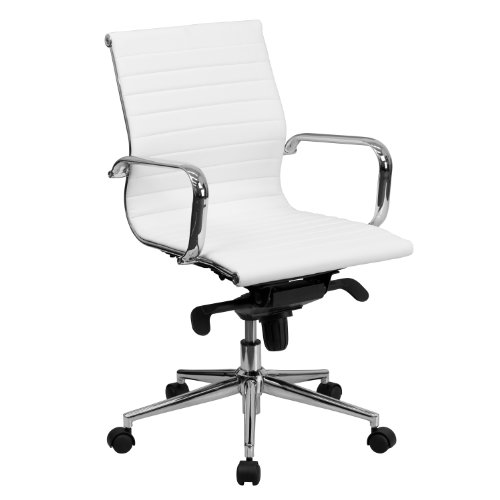 (Flash Furniture Mid-Back White Ribbed Leather Swivel Conference Chair with Knee-Tilt Control and Arms)