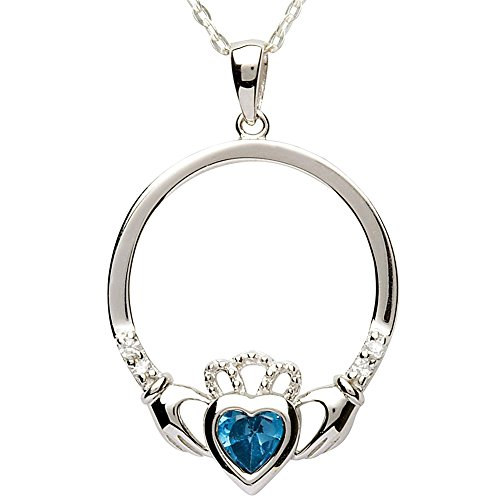 DECEMBER Birth Month Sterling Silver Claddagh Pendant LS-SP91-12. Made in IRELAND. -
