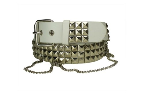 Men's Studded Leather Biker Belt With Pyramid Studs And Chains X-Large White