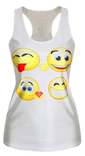 erdbeerloft–Mujer Emoji Tank Top Camiseta Estampado Print, tamaño S de l s de m, multicolor