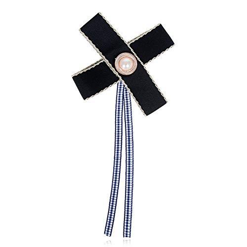 Women Blouse Bow Tie Necktie Striped Ribbon Pendant Shirt Collar Tie Brooch   StyleID - #163