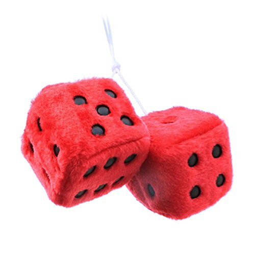 (Secaden Hanging Fuzzy Dice Plush Decorative Ornament with Dots Retro Car Pendant Charms Home Decoration (Red))