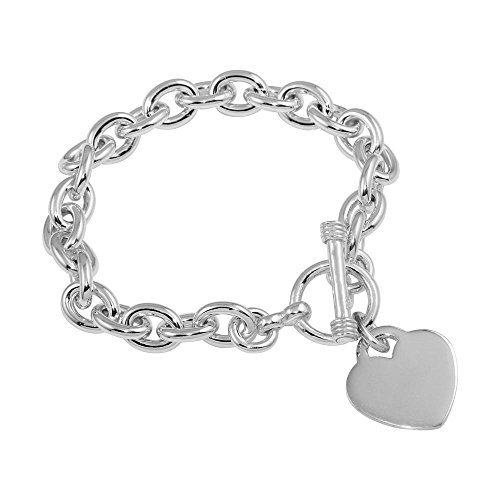 CloseoutWarehouse Sterling Silver High Polished Toggle Heart Link Bracelet -