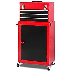 Giantex 2pc Mini Tool Chest & Cabinet Storage Box Rolling Garage Toolbox Organizer