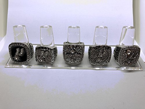 Set of 5 San Antonio Spurs Tim Duncan Finals 1999, 2003, 2005, 2007, 2014 Replica Ring-Various Sizes Silver Color Collectible USA -