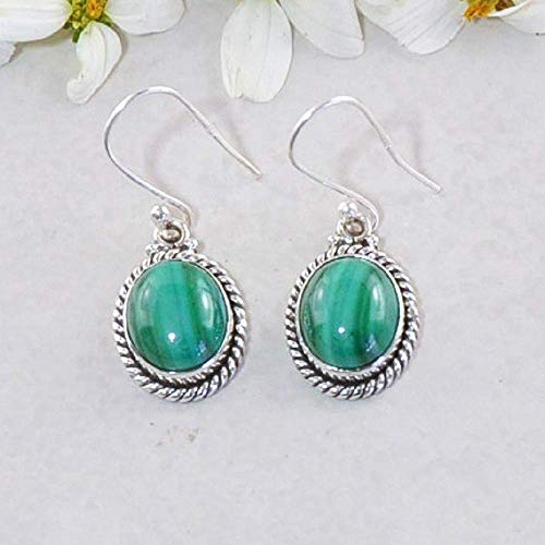 - Sivalya 3.00 Ct Oval Natural Malachite Earrings in 925 Oxidized Sterling Silver - Genuine Gemstone Solid Silver French Hook Dangle Earrings 1.5 inches
