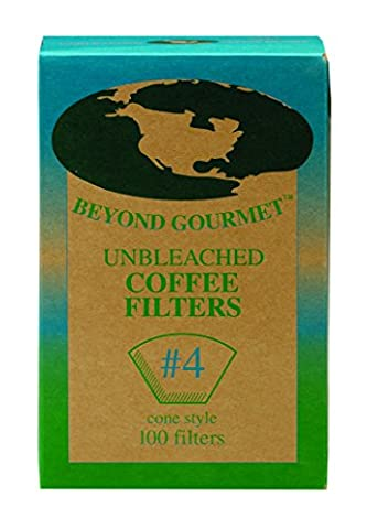 Beyond Gourmet Disposable Coffee Filter Cone, Number 4-Size Filter, Brews 8 to 12-Cups, Box of 100