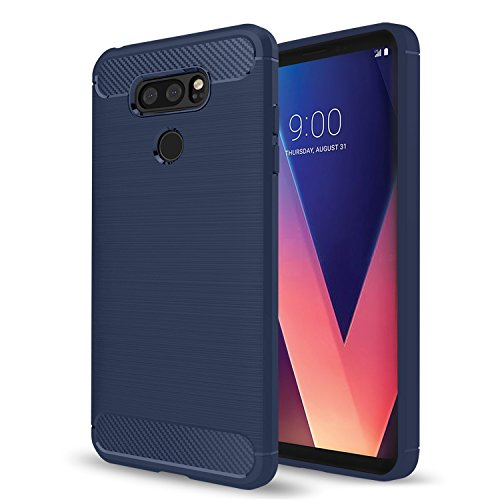 LG V30 Case, LG V30 Plus Case, AnoKe Ultra [Slim Thin] Hybrid Shock Absorption Scratch Resistant Soft TPU Grip Soft Skin Silicone Bumper Full-body Protective Cases Cover For LG V30 HWLS Blue