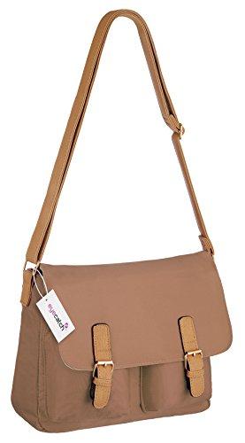 Womens Brown Lighter Bag Eyecatch London Shoulder Ladies Handbag Satchel 5AUw8Uq