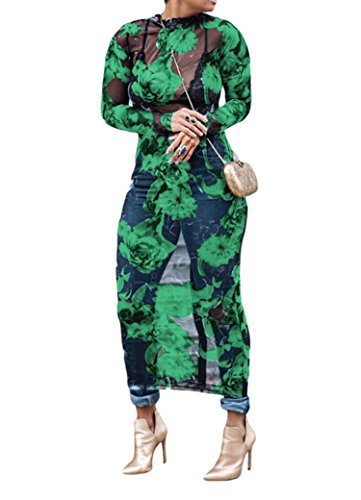 - Seraih Womens Sexy See Through Dress Floral Woven Printed Net Yarn Translucent Bodycon Dresses Plus Size (L, Green Floral)