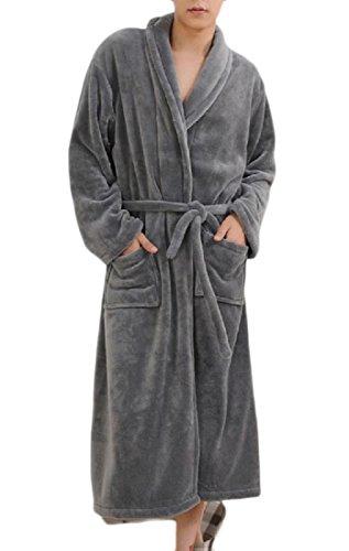 FreelyMen Freely Mens Solid Belted Flannel Thicken Lounge Sleepwear Robe PJS Grey M