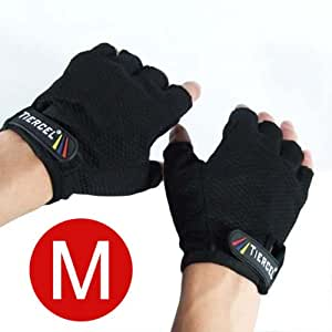BLACK Weightlifting gloves womens SIZE MEDIUM. Sport gloves for weight lifters. Gym fitness gloves. Exercise gloves for women with palm weight grip padding. Fingerless gloves for women
