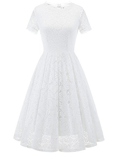 - DRESSTELLS Women's Bridesmaid Vintage Tea Dress Floral Lace Cocktail Formal Swing Dress White S