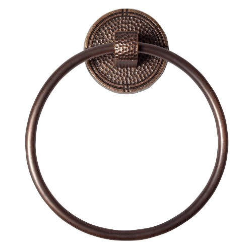 The Copper Factory CF134AN Solid Copper Towel Ring with a Round Backplate, Antique Copper