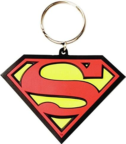 Amazon.com: Pink-Cat-Shop Rubber Superman Logo Keyring ...