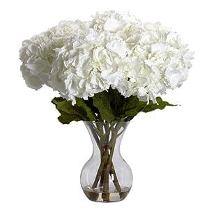 Nearly Natural 1260 Large Hydrangea with Vase Silk Flower Arrangement, White 60