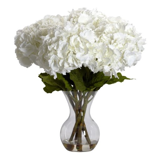 Nearly Natural 1260 Large Hydrangea with Vase Silk Flower Arrangement, White