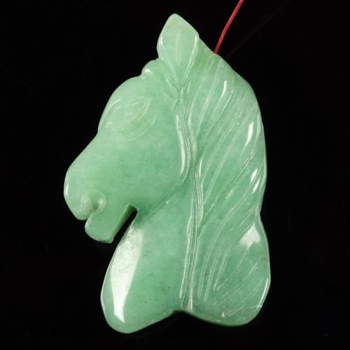 Hand carved gemstone horse head pendant focal bead 45mm (Green aventurine) ()