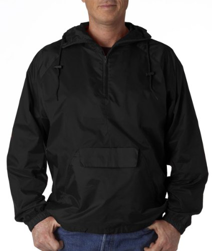 UltraClub® Adult 1/4-Zip Hooded Pullover Pack-Away Jacket - Black - 2XL