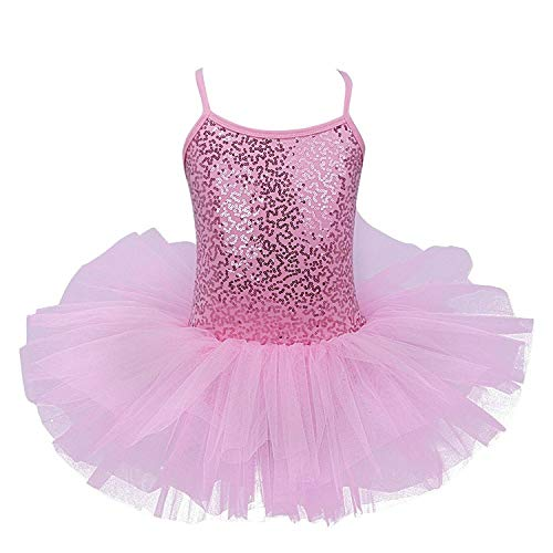 FEESHOW Girls Sequins Camisole Ballet Dress Leotard Tutu Skirt Ballerina Glittering Dance wear Costumes (4-5, Pink) ()