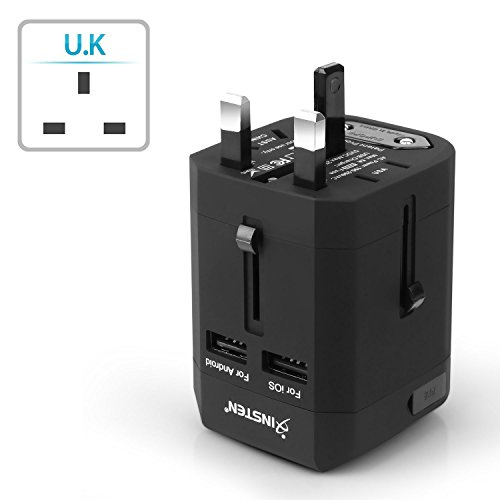 Insten Universal Worldwide Travel Adapter Wall Charger Power Plug AC Adapter with Dual USB Charging Ports for US/EU/UK/AU International Cellphone Laptop, Black by INSTEN (Image #7)