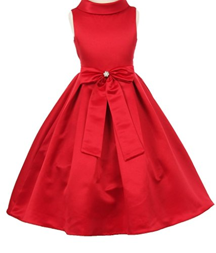 AkiDress Satin Cowl Neckline with Large Bow Flower Girl Dress for Little Girl Red 4