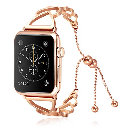 (Solomo Compatible for Apple Watch Band 40mm 38mm, Classy Stainless Steel Cuff Jewelry Strap Wristbands Unique Heart Shaped Style Women Replacement with Pendant for iWatch Series 4/3/2/1 (Rose Gold))