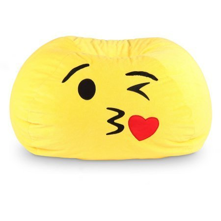 Watch TV or simply relax with the GoMoji Bean Bag (Kiss Yellow) by Ace Bayou