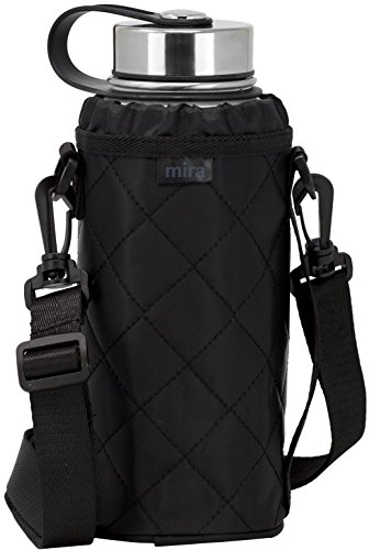MIRA Water Bottle Carrier for 32 oz Wide Mouth Vacuum Insulated Stainless Steel Bottles | Fits, Hydro Flask, Camelbak, Takeya and Other Wide Mouth Bottles | Smooth Twill