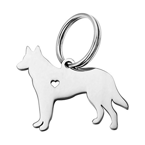 HOUSWEETY 1pc Stainless Steel German Shepherd Dog Pendant ()