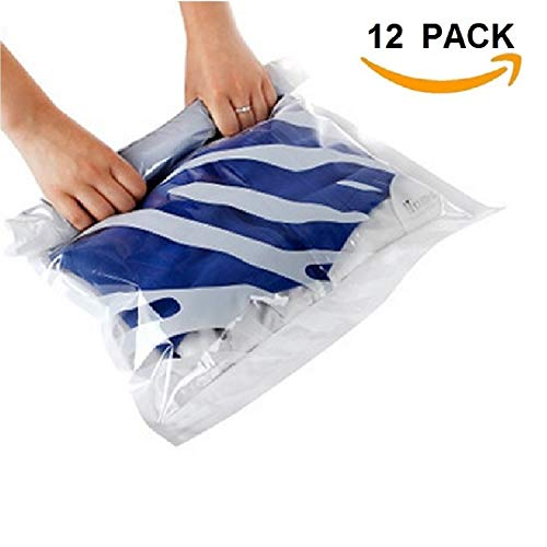 12 Compression Space Saver Travel Storage Bags. 12 pack (Sizes Small to Large) Roll Up No Vacuum Needed, By Eco Green Storage