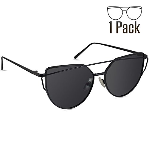 Livhò Sunglasses for Women, Cat Eye Mirrored Flat Lenses Metal Frame Sunglasses UV400