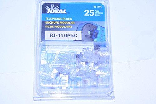 Ide 85-344 Rj-11 6-Position 4-Contact Modular Plugs 25 Pack (6 Modular Plug Position)