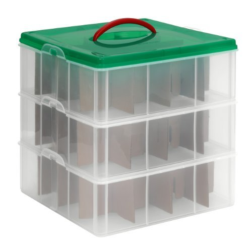 ck Square 3-Tier Seasonal Ornament Storage Container, 13 by 13-Inch ()