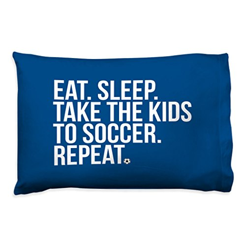 ChalkTalkSPORTS Soccer Pillowcase | Eat Sleep Take The Kids to Soccer | Navy by ChalkTalkSPORTS