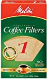 Melitta 620122 40-Pack #1 Natural Brown Cone Coffee Filters - Quantity 12