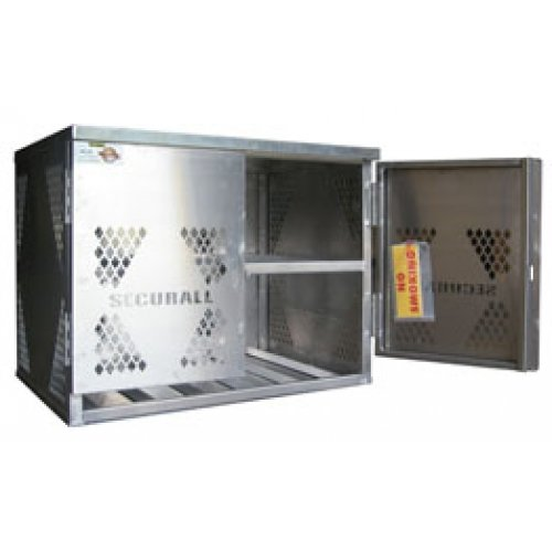 Aluminum 6 Cylinder Forklift Storage Cage / Cabinet by Securall